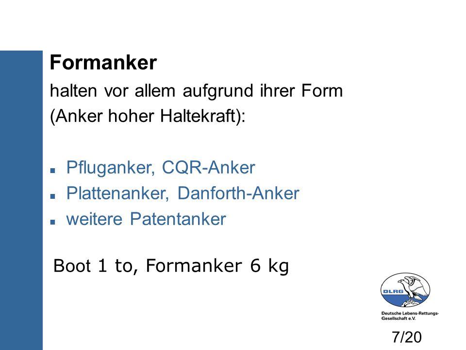 Formanker halten vor allem aufgrund ihrer Form (Anker hoher Haltekraft): Pfluganker, CQR-Anker Plattenanker, Danforth-Anker weitere Patentanker Boot 1