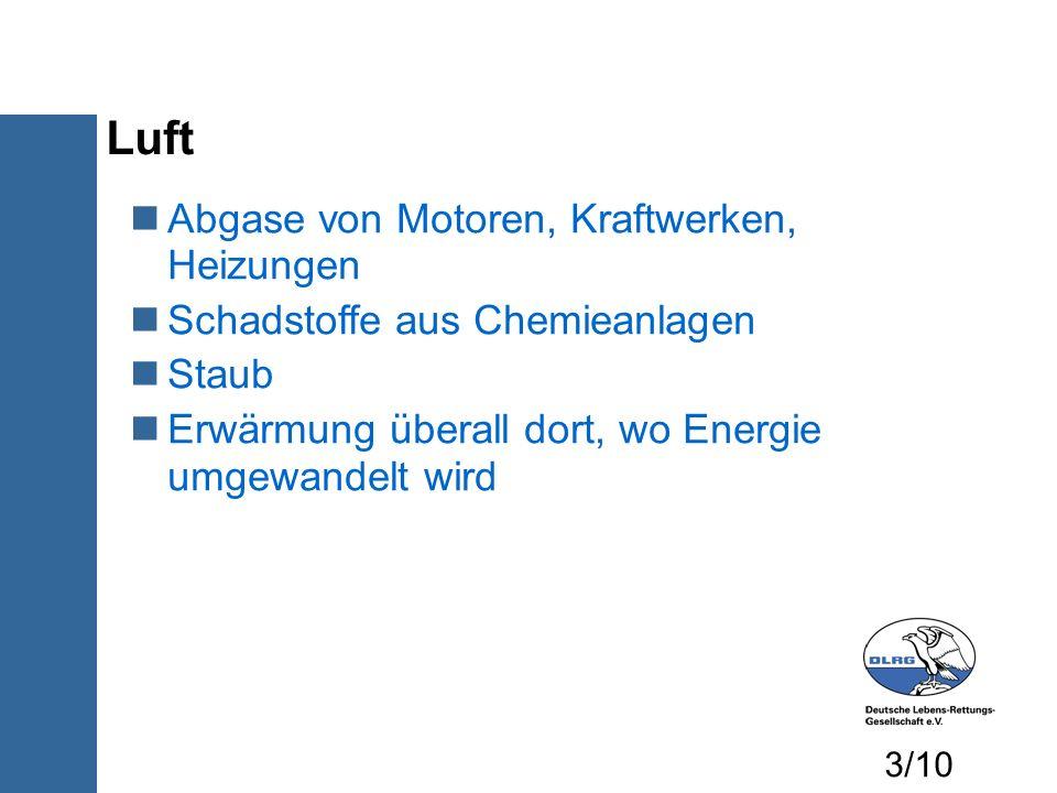 Luft Abgase von Motoren, Kraftwerken, Heizungen Schadstoffe aus Chemieanlagen Staub Erwärmung überall dort, wo Energie umgewandelt wird 3/10