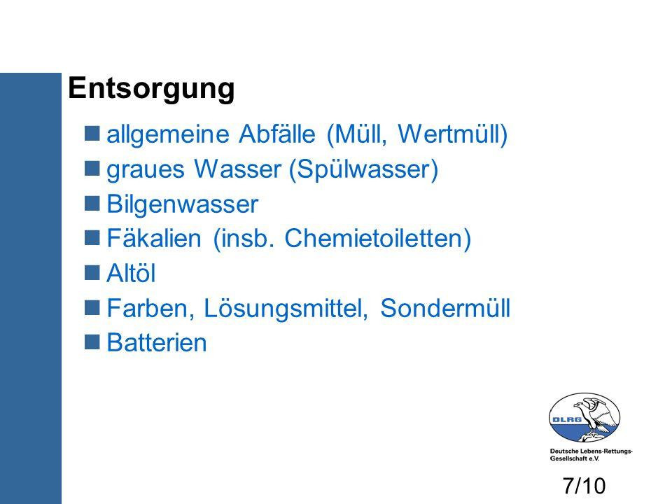 Entsorgung allgemeine Abfälle (Müll, Wertmüll) graues Wasser (Spülwasser) Bilgenwasser Fäkalien (insb. Chemietoiletten) Altöl Farben, Lösungsmittel, S