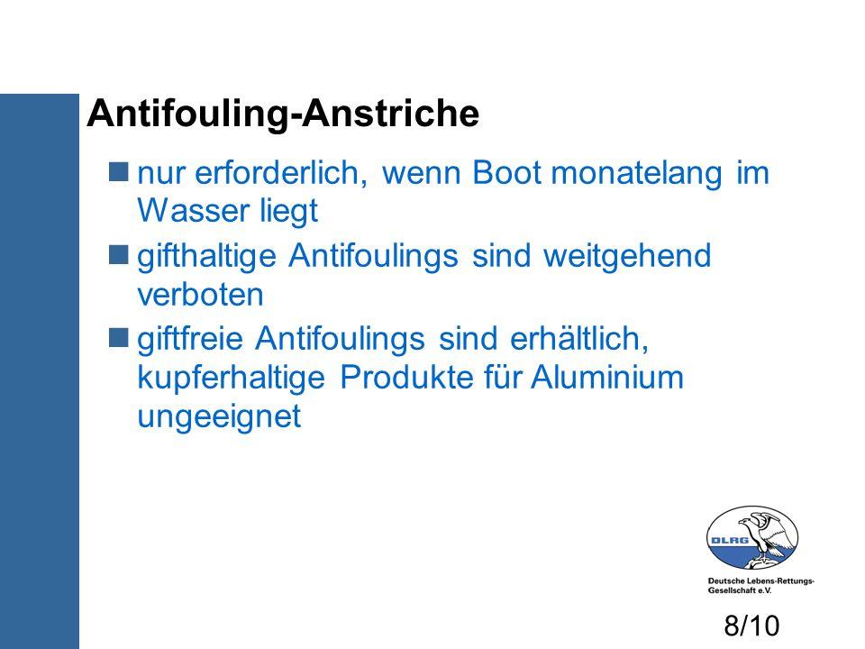 Antifouling-Anstriche nur erforderlich, wenn Boot monatelang im Wasser liegt gifthaltige Antifoulings sind weitgehend verboten giftfreie Antifoulings