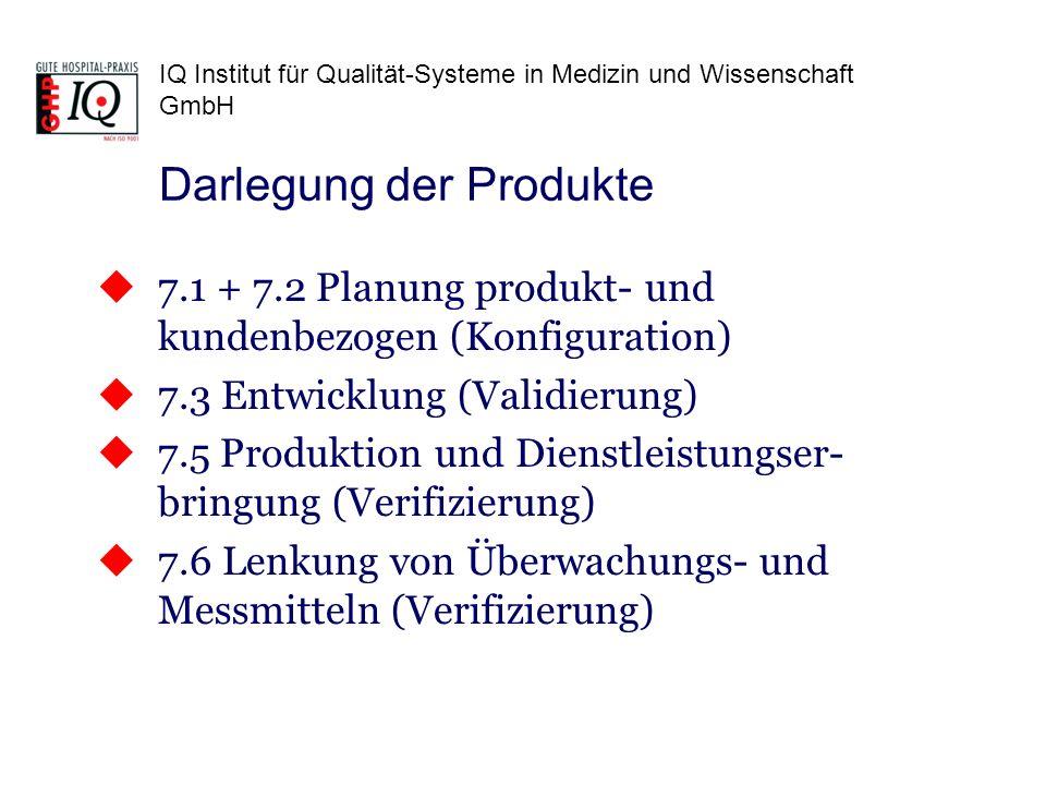IQ Institut für Qualität-Systeme in Medizin und Wissenschaft GmbH 7.1 + 7.2 Planung produkt- und kundenbezogen (Konfiguration) 7.3 Entwicklung (Validi