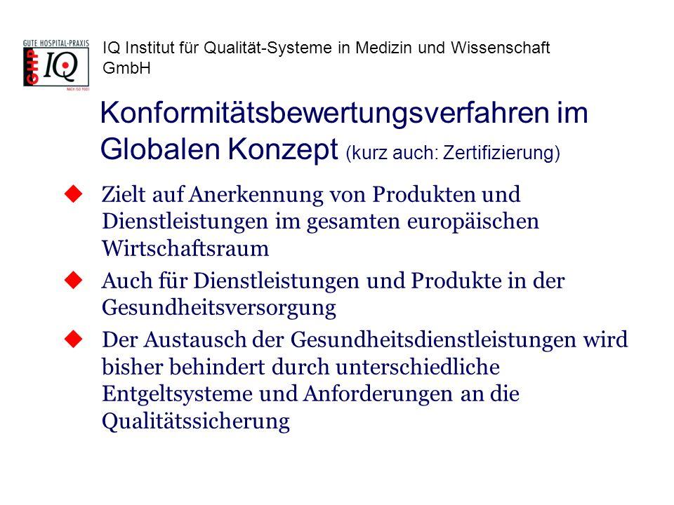 IQ Institut für Qualität-Systeme in Medizin und Wissenschaft GmbH Zielt auf Anerkennung von Produkten und Dienstleistungen im gesamten europäischen Wi