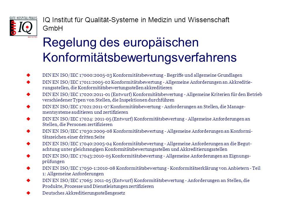 IQ Institut für Qualität-Systeme in Medizin und Wissenschaft GmbH DIN EN ISO/IEC 17000:2005-03 Konformitätsbewertung - Begriffe und allgemeine Grundla