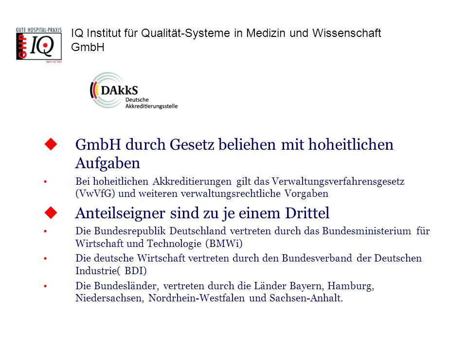 IQ Institut für Qualität-Systeme in Medizin und Wissenschaft GmbH GmbH durch Gesetz beliehen mit hoheitlichen Aufgaben Bei hoheitlichen Akkreditierung