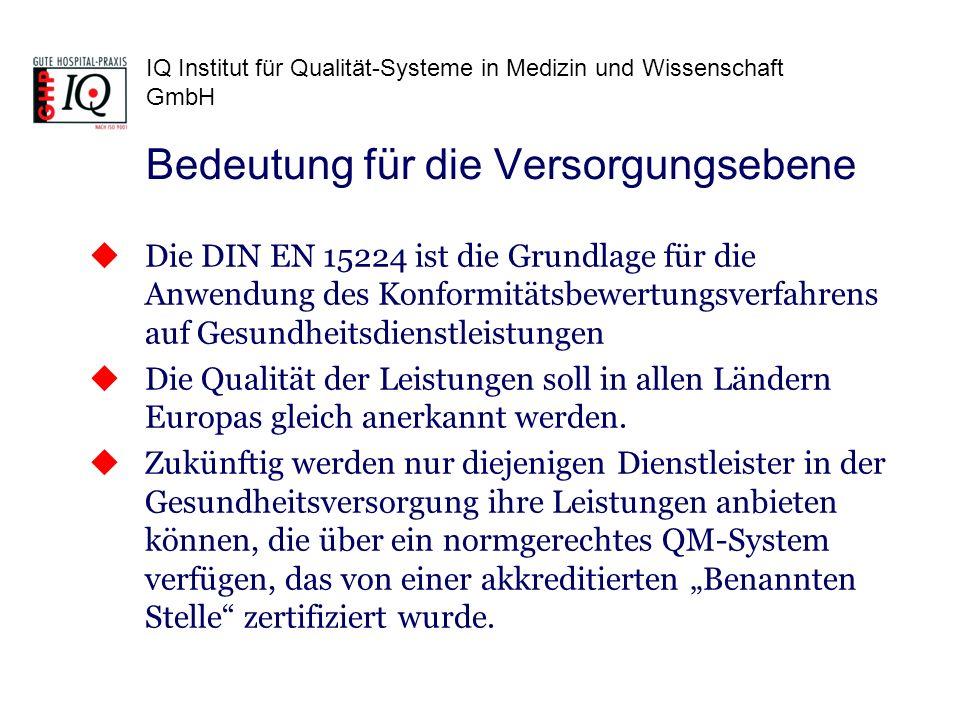 IQ Institut für Qualität-Systeme in Medizin und Wissenschaft GmbH Die DIN EN 15224 ist die Grundlage für die Anwendung des Konformitätsbewertungsverfa
