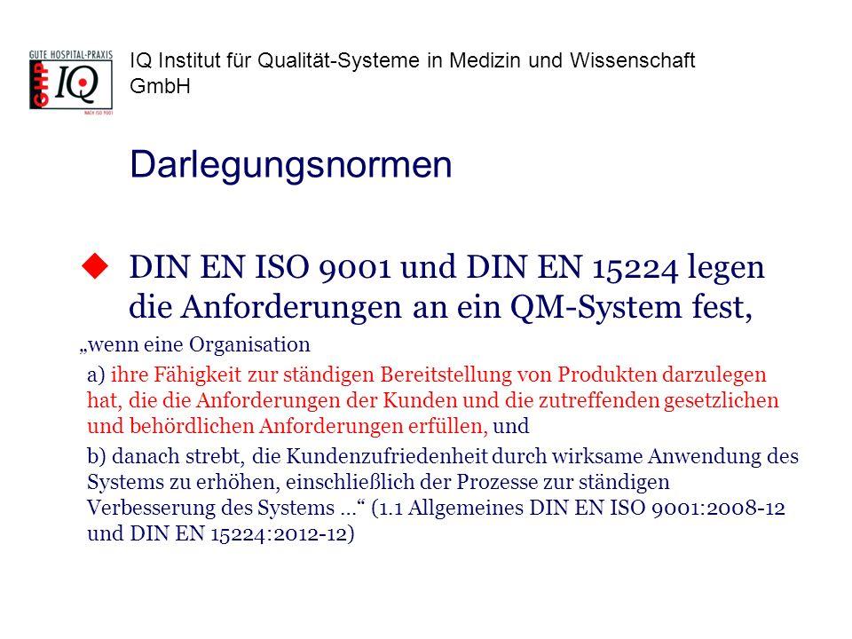 IQ Institut für Qualität-Systeme in Medizin und Wissenschaft GmbH Darlegungsnormen DIN EN ISO 9001 und DIN EN 15224 legen die Anforderungen an ein QM-