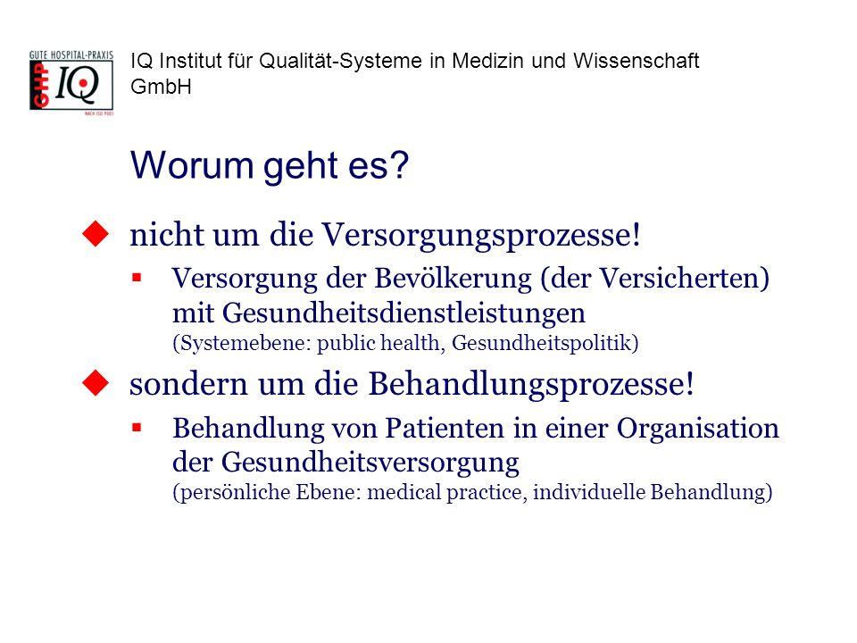 IQ Institut für Qualität-Systeme in Medizin und Wissenschaft GmbH Es heißt zwar immer health care = Gesundheitsversorgung Gemeint ist aber immer die klinische (medizinische) Behandlung einzelner Patienten durch medizinische Leistungserbringer Versorgung/Behandlung