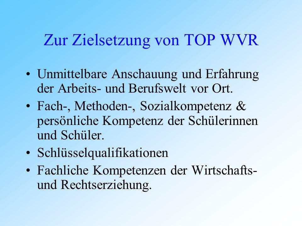 Zur Zielsetzung von TOP WVR Unmittelbare Anschauung und Erfahrung der Arbeits- und Berufswelt vor Ort.