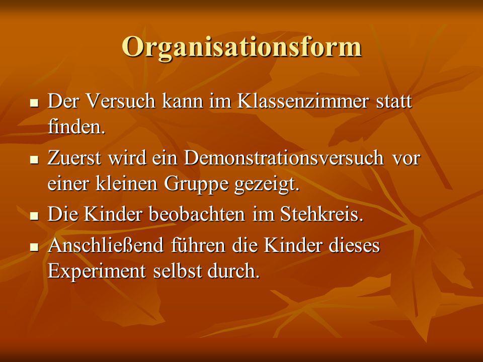 Organisationsform Der Versuch kann im Klassenzimmer statt finden. Der Versuch kann im Klassenzimmer statt finden. Zuerst wird ein Demonstrationsversuc