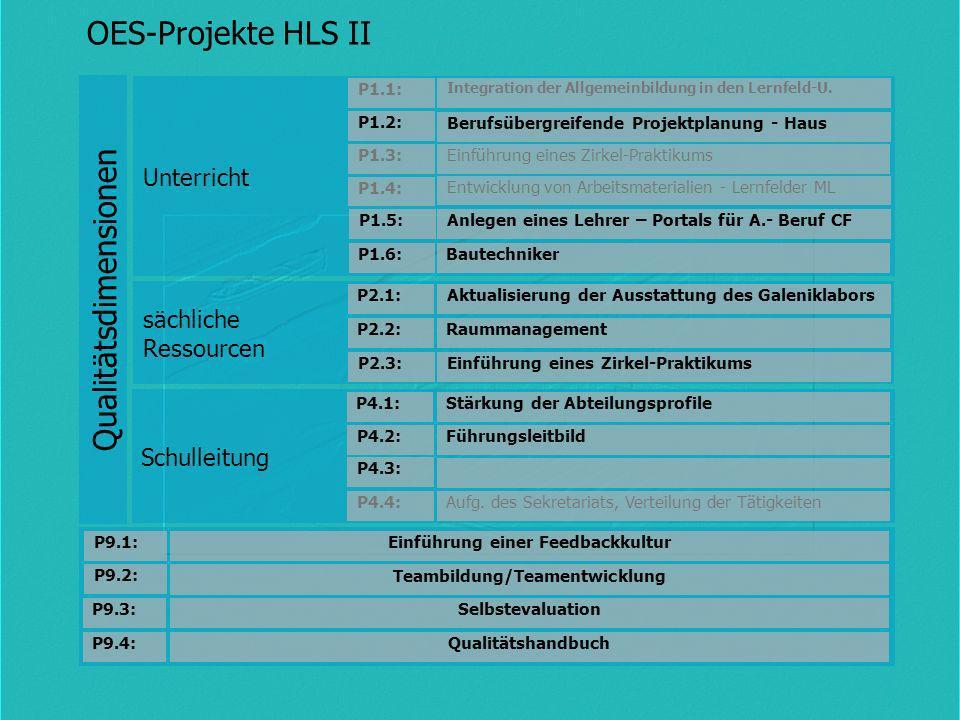 Schulleitung sächliche Ressourcen Unterricht Qualitätsdimensionen Stärkung der AbteilungsprofileP4.1: Führungsleitbild P4.2: Integration der Allgemein