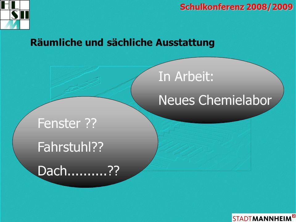 Räumliche und sächliche Ausstattung Schulkonferenz 2008/2009 Fenster ?? Fahrstuhl?? Dach..........?? In Arbeit: Neues Chemielabor