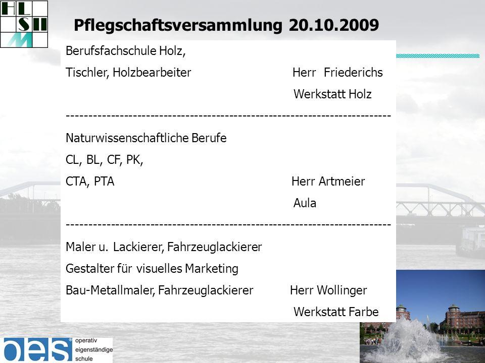 Berufsfachschule Holz, Tischler, Holzbearbeiter Herr Friederichs Werkstatt Holz -------------------------------------------------------------------------- Naturwissenschaftliche Berufe CL, BL, CF, PK, CTA, PTA Herr Artmeier Aula -------------------------------------------------------------------------- Maler u.