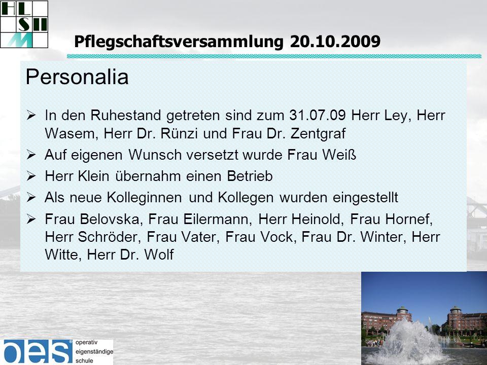 Personalia In den Ruhestand getreten sind zum 31.07.09 Herr Ley, Herr Wasem, Herr Dr.