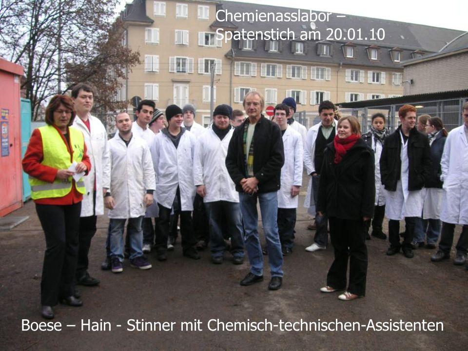 Boese – Hain - Stinner mit Chemisch-technischen-Assistenten Chemienasslabor – Spatenstich am 20.01.10