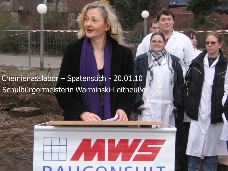 Schulbürgermeisterin Warminski-Leitheußer Chemienasslabor – Spatenstich - 20.01.10