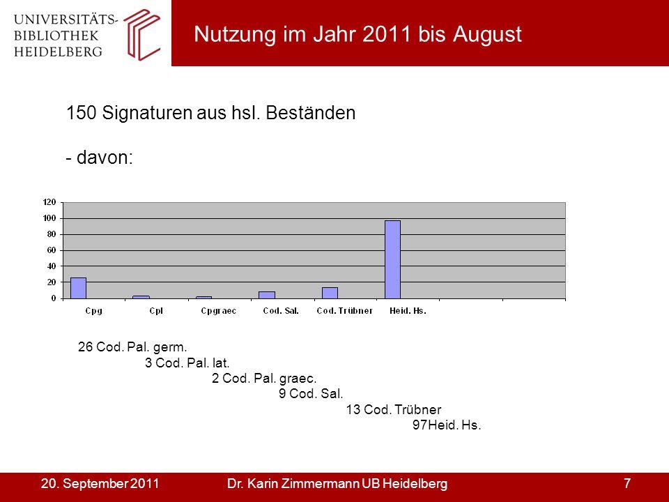 Dr. Karin Zimmermann UB Heidelberg720. September 2011 Nutzung im Jahr 2011 bis August 150 Signaturen aus hsl. Beständen - davon: 26 Cod. Pal. germ. 3