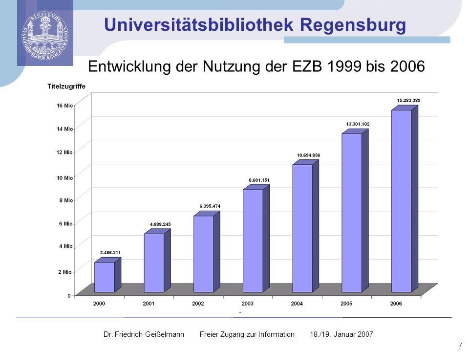 Universitätsbibliothek Regensburg 7 Dr. Friedrich Geißelmann Freier Zugang zur Information 18./19. Januar 2007 Entwicklung der Nutzung der EZB 1999 bi