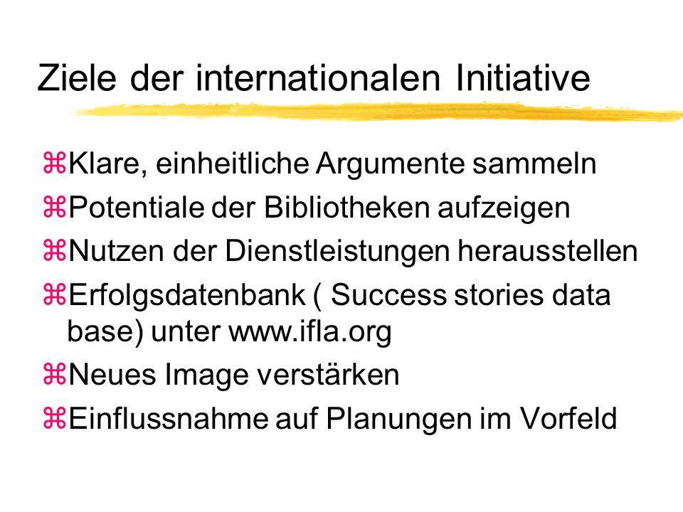 Ziele der internationalen Initiative zKlare, einheitliche Argumente sammeln zPotentiale der Bibliotheken aufzeigen zNutzen der Dienstleistungen herausstellen zErfolgsdatenbank ( Success stories data base) unter www.ifla.org zNeues Image verstärken zEinflussnahme auf Planungen im Vorfeld