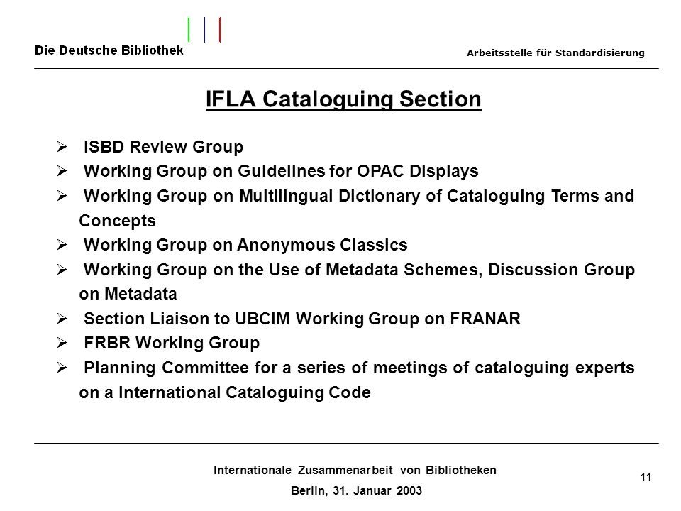 Internationale Zusammenarbeit von Bibliotheken Berlin, 31. Januar 2003 11 IFLA Cataloguing Section ISBD Review Group Working Group on Guidelines for O