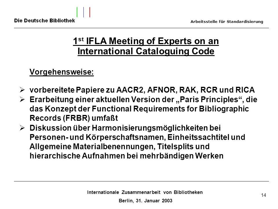 Internationale Zusammenarbeit von Bibliotheken Berlin, 31. Januar 2003 14 Vorgehensweise: vorbereitete Papiere zu AACR2, AFNOR, RAK, RCR und RICA Erar