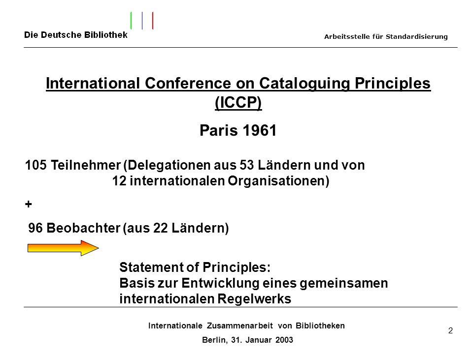 Internationale Zusammenarbeit von Bibliotheken Berlin, 31. Januar 2003 2 International Conference on Cataloguing Principles (ICCP) Paris 1961 105 Teil