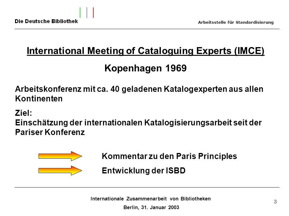 Internationale Zusammenarbeit von Bibliotheken Berlin, 31. Januar 2003 3 International Meeting of Cataloguing Experts (IMCE) Kopenhagen 1969 Arbeitsko