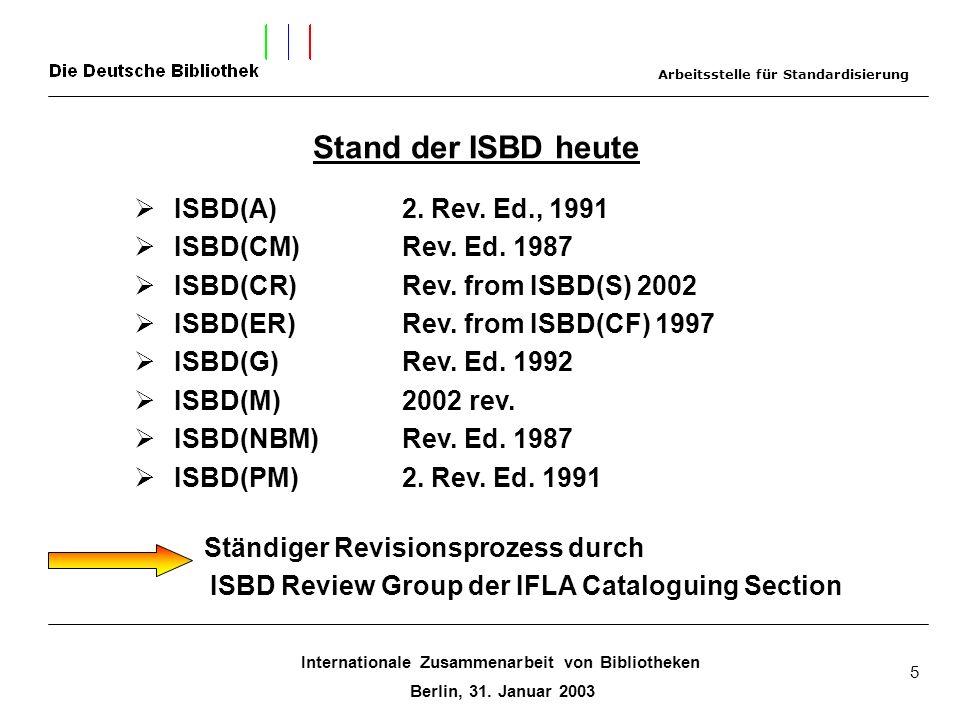 Internationale Zusammenarbeit von Bibliotheken Berlin, 31. Januar 2003 5 Stand der ISBD heute ISBD(A) 2. Rev. Ed., 1991 ISBD(CM) Rev. Ed. 1987 ISBD(CR