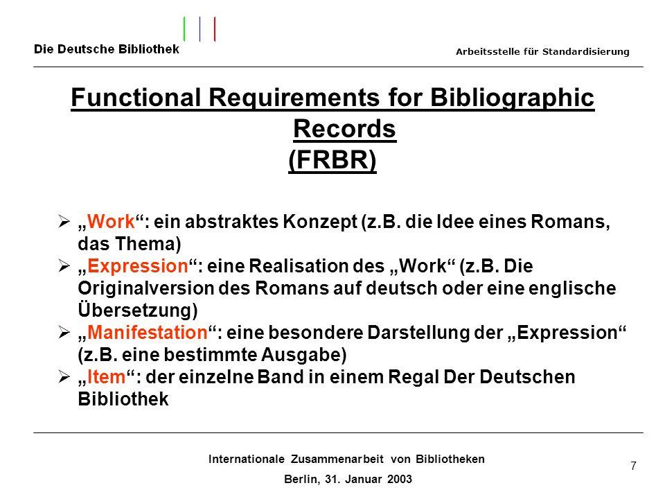 Internationale Zusammenarbeit von Bibliotheken Berlin, 31. Januar 2003 7 Functional Requirements for Bibliographic Records (FRBR) Work: ein abstraktes