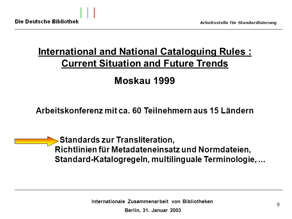 Internationale Zusammenarbeit von Bibliotheken Berlin, 31. Januar 2003 9 International and National Cataloguing Rules : Current Situation and Future T