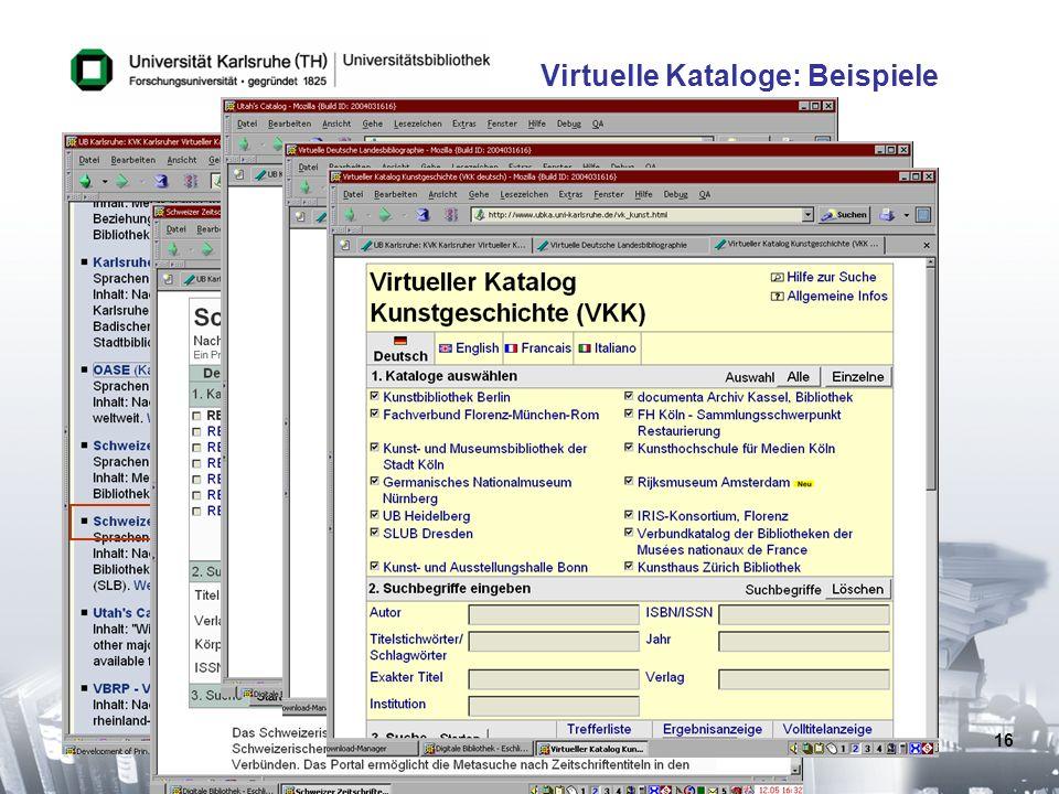 16 Virtuelle Kataloge: Beispiele