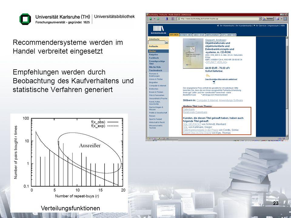 23 Recommendersysteme werden im Handel verbreitet eingesetzt Empfehlungen werden durch Beobachtung des Kaufverhaltens und statistische Verfahren gener