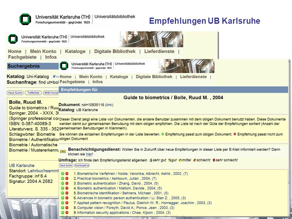 26 Empfehlungen UB Karlsruhe