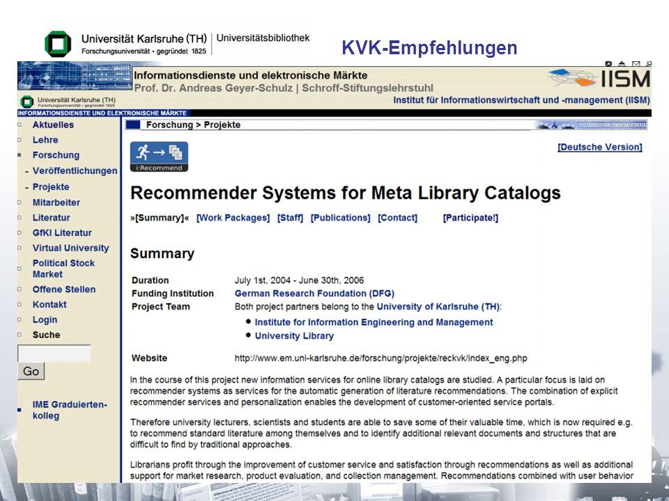 30 KVK-Empfehlungen