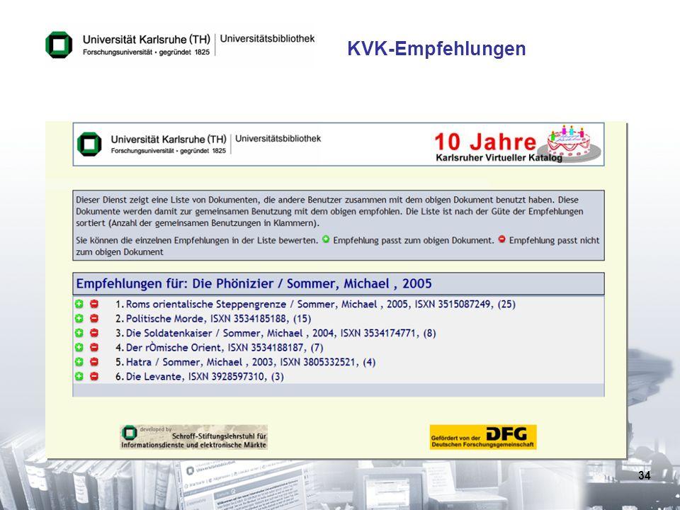 34 KVK-Empfehlungen