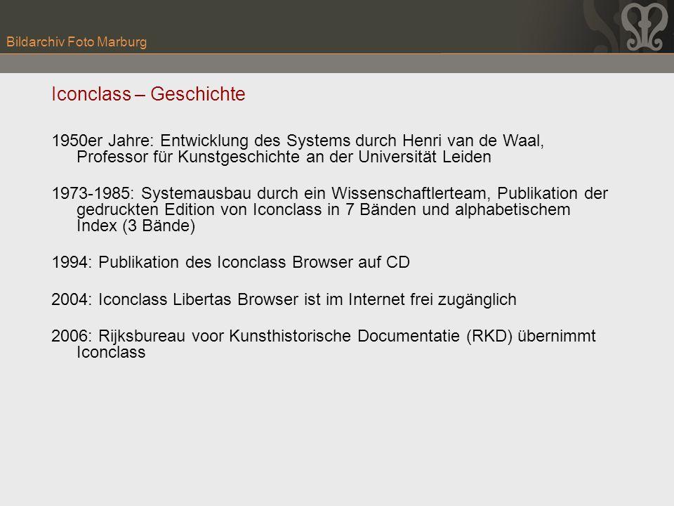 Bildarchiv Foto Marburg Iconclass – Geschichte 1950er Jahre: Entwicklung des Systems durch Henri van de Waal, Professor für Kunstgeschichte an der Uni