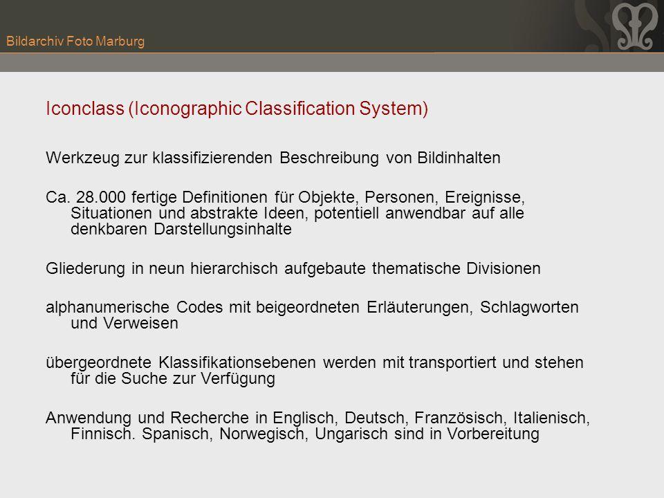 Bildarchiv Foto Marburg Iconclass (Iconographic Classification System) Werkzeug zur klassifizierenden Beschreibung von Bildinhalten Ca. 28.000 fertige
