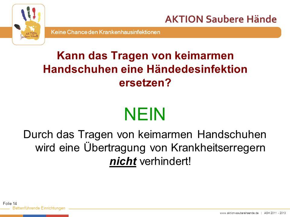 www.aktion-sauberehaende.de | ASH 2011 - 2013 Bettenführende Einrichtungen Keine Chance den Krankenhausinfektionen Kann das Tragen von keimarmen Hands