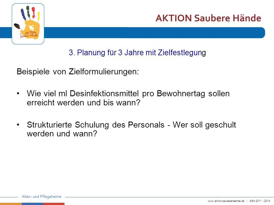 www.aktion-sauberehaende.de | ASH 2011 - 2013 Alten- und Pflegeheime 3. Planung für 3 Jahre mit Zielfestlegung Beispiele von Zielformulierungen: Wie v