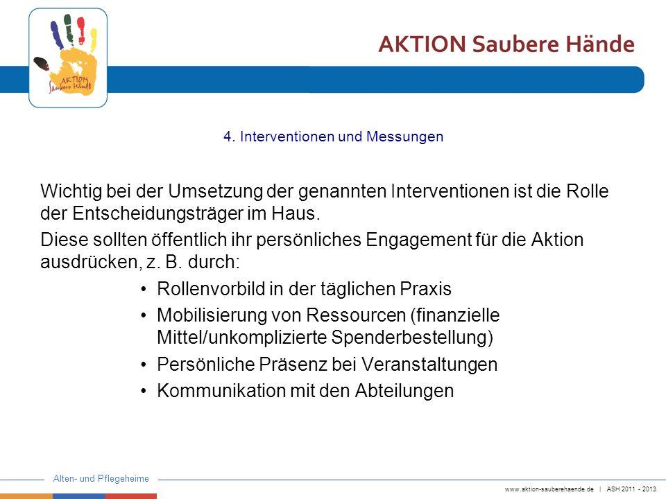 www.aktion-sauberehaende.de | ASH 2011 - 2013 Alten- und Pflegeheime 4. Interventionen und Messungen Wichtig bei der Umsetzung der genannten Intervent