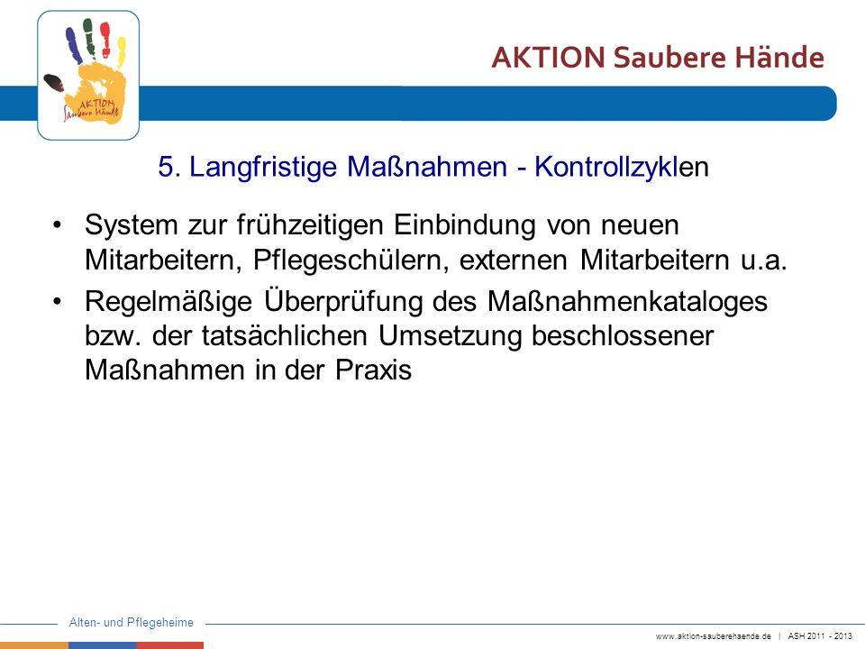 www.aktion-sauberehaende.de | ASH 2011 - 2013 Alten- und Pflegeheime 5. Langfristige Maßnahmen - Kontrollzyklen System zur frühzeitigen Einbindung von
