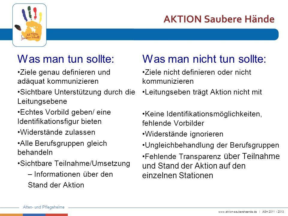 www.aktion-sauberehaende.de | ASH 2011 - 2013 Alten- und Pflegeheime Was man tun sollte: Ziele genau definieren und adäquat kommunizieren Sichtbare Un