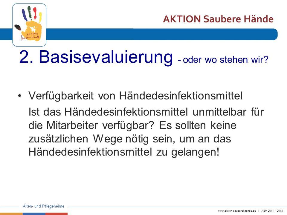 www.aktion-sauberehaende.de | ASH 2011 - 2013 Alten- und Pflegeheime 2. Basisevaluierung - oder wo stehen wir? Verfügbarkeit von Händedesinfektionsmit