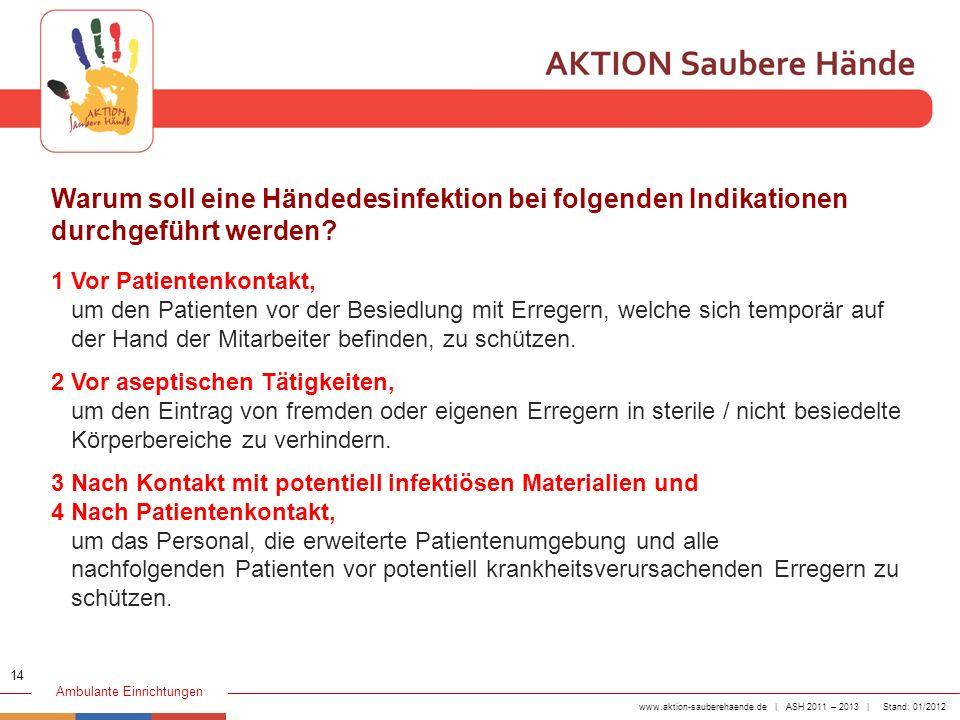 www.aktion-sauberehaende.de | ASH 2011 – 2013 | Stand: 01/2012 Ambulante Einrichtungen 1 Vor Patientenkontakt, um den Patienten vor der Besiedlung mit