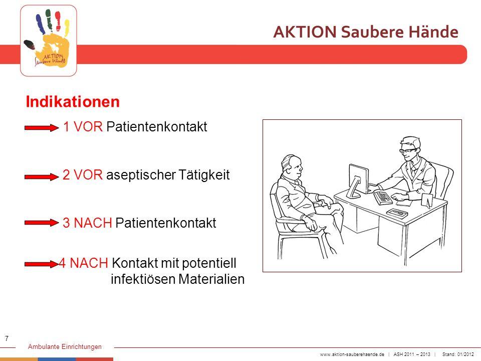 www.aktion-sauberehaende.de | ASH 2011 – 2013 | Stand: 01/2012 Ambulante Einrichtungen 1 VOR Patientenkontakt 2 VOR aseptischer Tätigkeit 3 NACH Patie