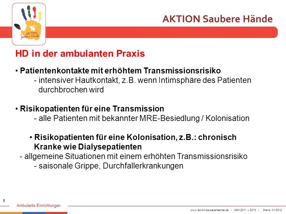 www.aktion-sauberehaende.de | ASH 2011 – 2013 | Stand: 01/2012 Ambulante Einrichtungen 1 VOR Patientenkontakt Die Händedesinfektion erfolgt, bevor das medizinische Personal den Patienten direkt berührt, z.