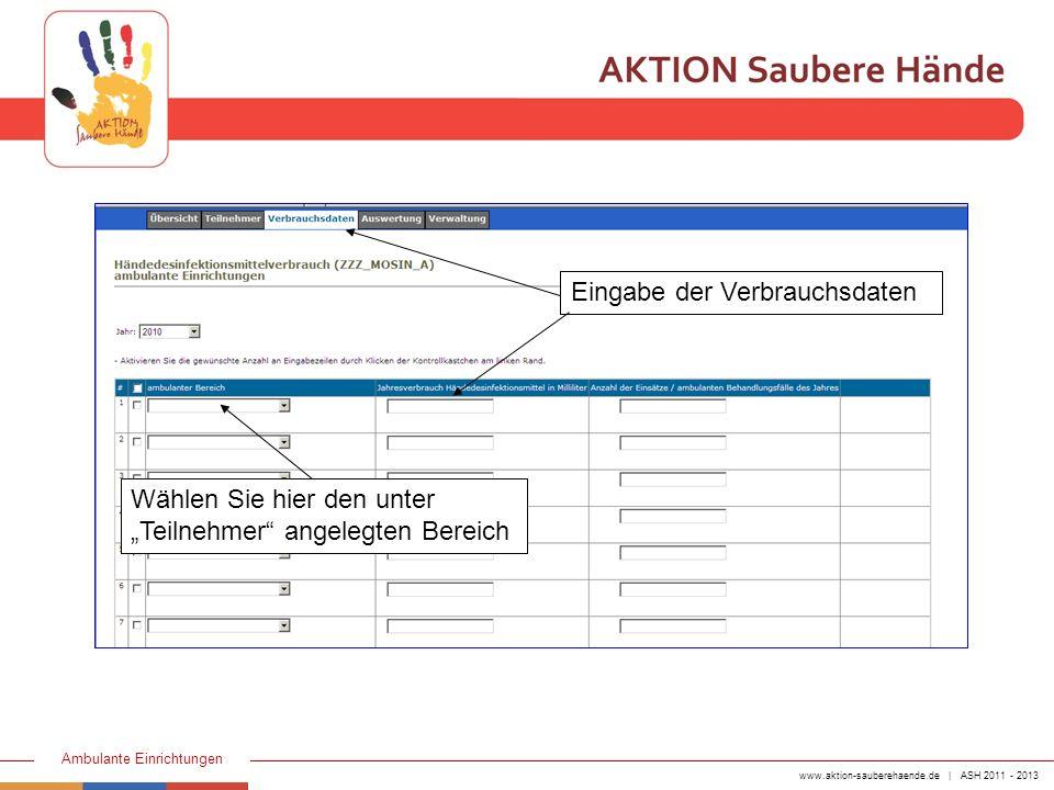 www.aktion-sauberehaende.de | ASH 2011 - 2013 Ambulante Einrichtungen Eingabe der Verbrauchsdaten Wählen Sie hier den unter Teilnehmer angelegten Bere
