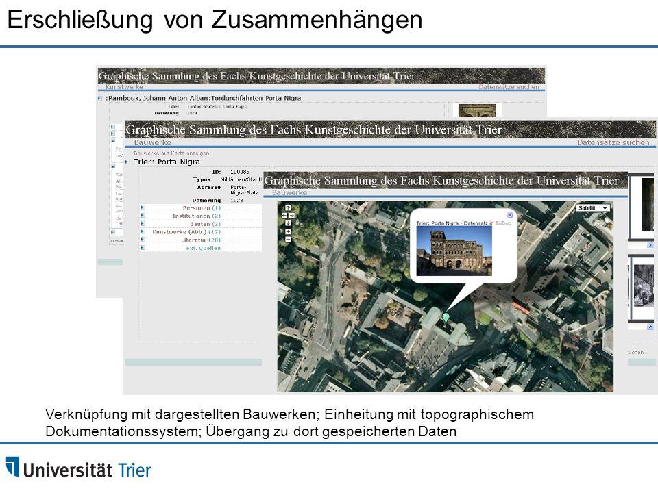 Verknüpfung mit dargestellten Bauwerken; Einheitung mit topographischem Dokumentationssystem; Übergang zu dort gespeicherten Daten Erschließung von Zu