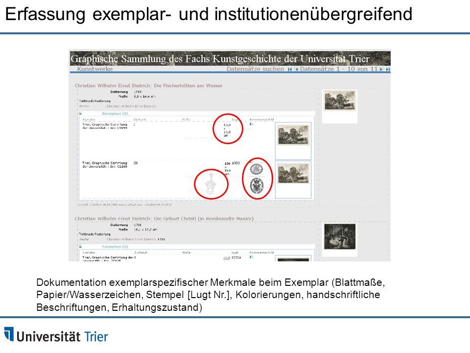 Erfassung exemplar- und institutionenübergreifend Dokumentation exemplarspezifischer Merkmale beim Exemplar (Blattmaße, Papier/Wasserzeichen, Stempel