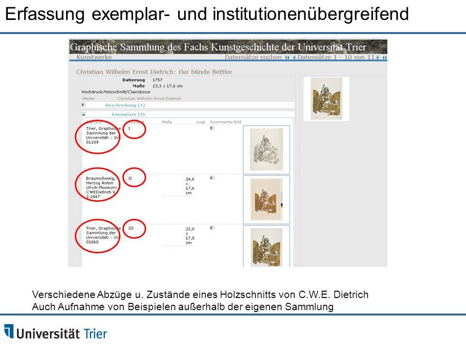 Verschiedene Abzüge u. Zustände eines Holzschnitts von C.W.E. Dietrich Auch Aufnahme von Beispielen außerhalb der eigenen Sammlung Erfassung exemplar-