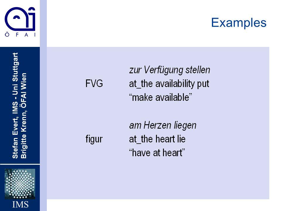 Stefan Evert, IMS - Uni Stuttgart Brigitte Krenn, ÖFAI Wien IMS Examples